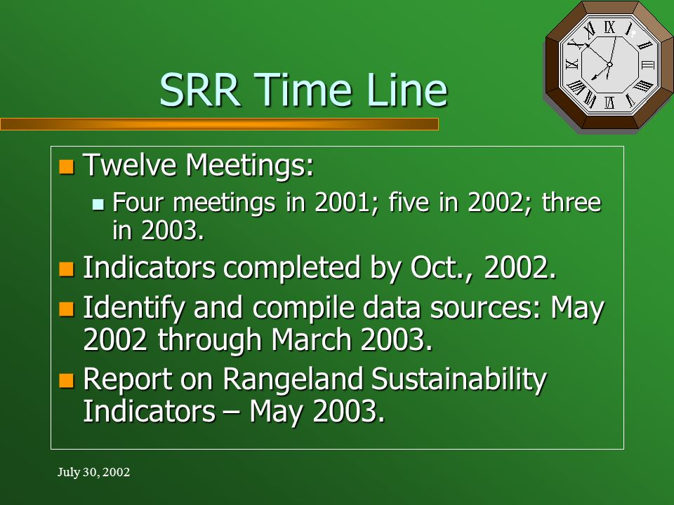 July 30, 2002 SRR Time Line Twelve Meetings: Twelve Meetings: Four meetings in 2001; five in 2002; three in 2003.