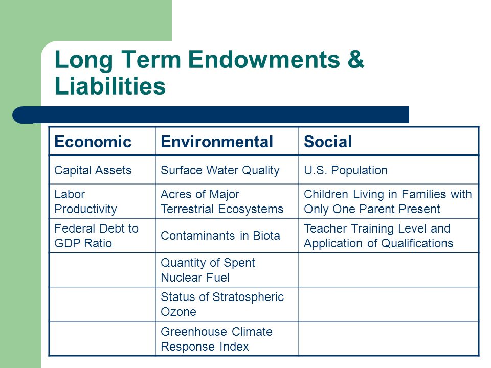 Long Term Endowments & Liabilities EconomicEnvironmentalSocial Capital AssetsSurface Water QualityU.S.
