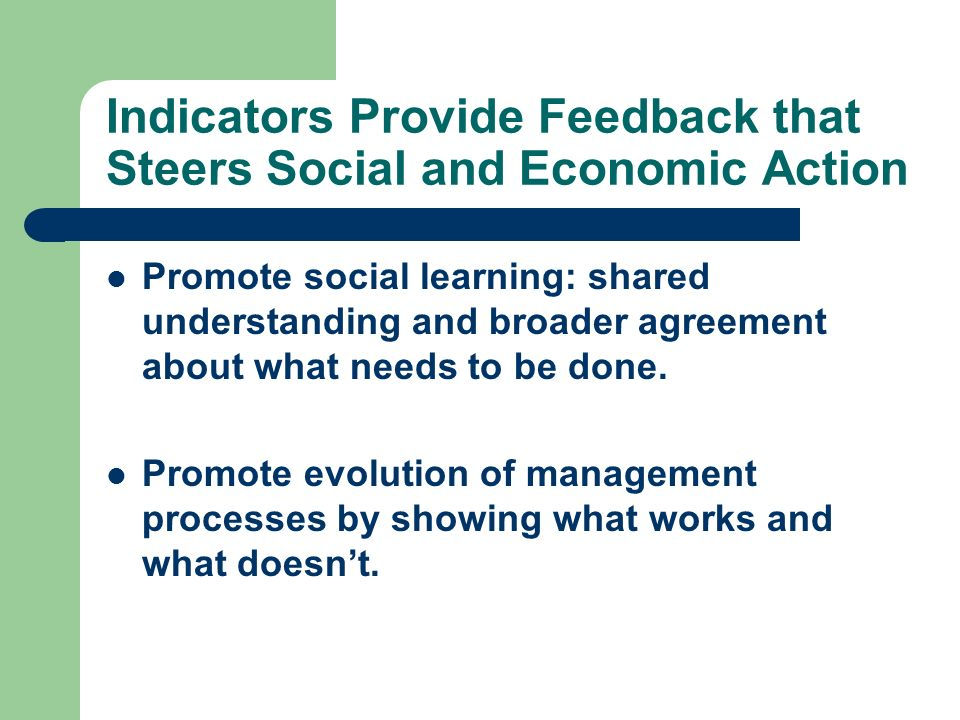Indicators Provide Feedback that Steers Social and Economic Action Promote social learning: shared understanding and broader agreement about what needs to be done.