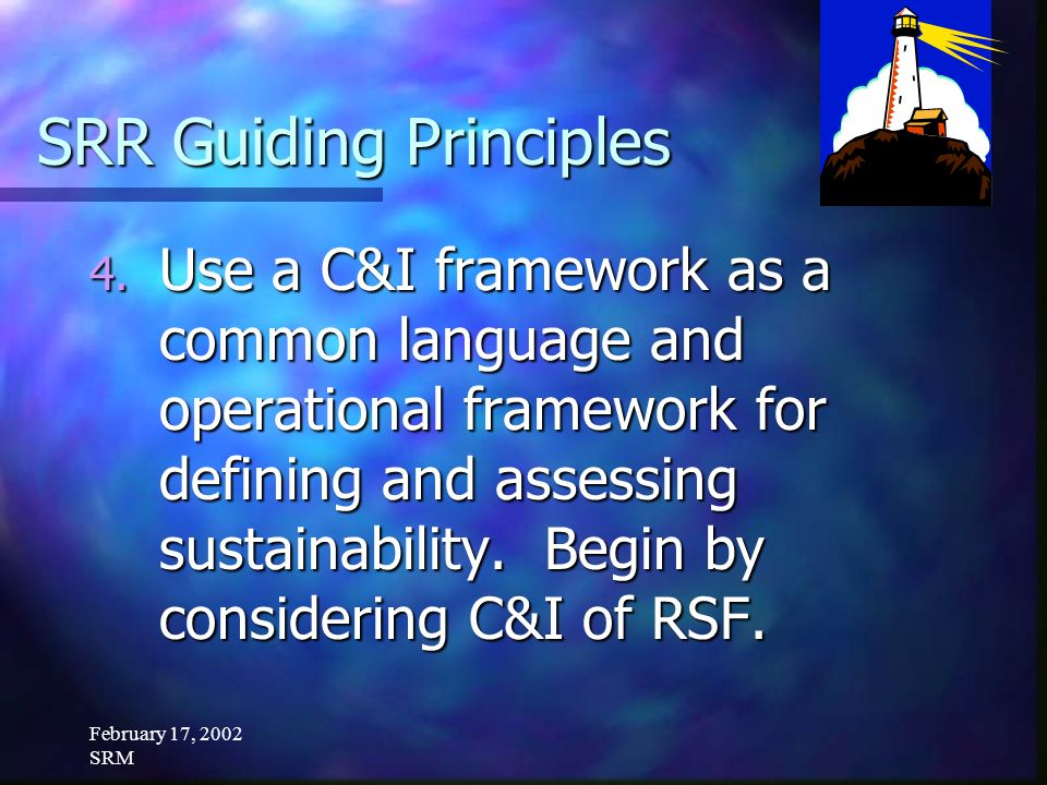 February 17, 2002 SRM SRR Guiding Principles 4. Use a C&I framework as a common language and operational framework for defining and assessing sustaina