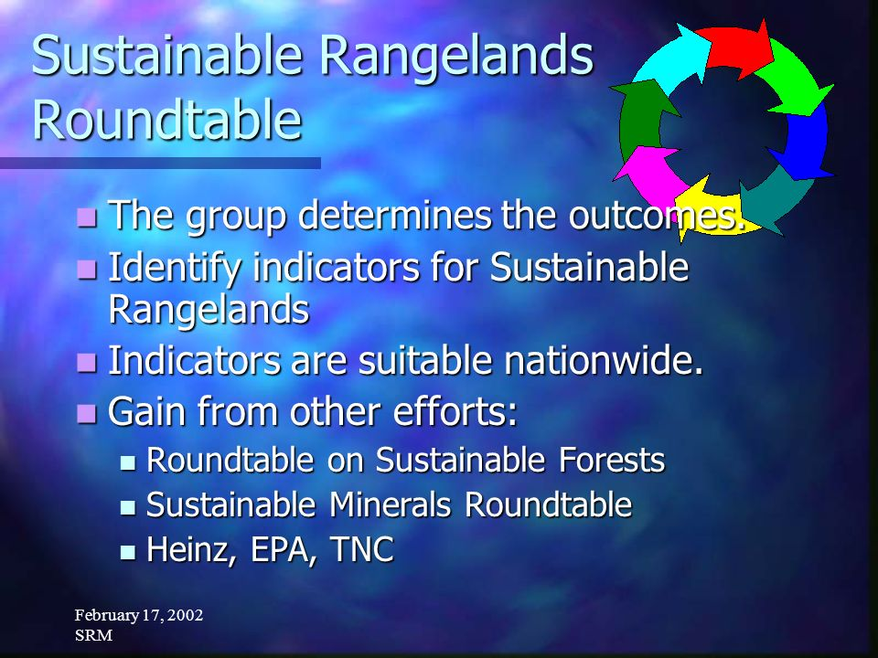 February 17, 2002 SRM Sustainable Rangelands Roundtable The group determines the outcomes.