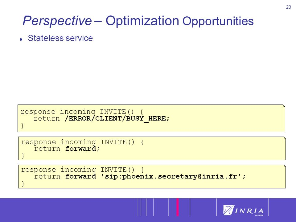 23 Perspective – Optimization Opportunities Stateless service response incoming INVITE() { return /ERROR/CLIENT/BUSY_HERE; } response incoming INVITE() { return forward; } response incoming INVITE() { return forward sip:phoenix.secretary@inria.fr ; }