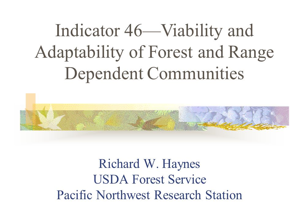 Intent deals with the relation of forest or range management and the well-being of communities Well-being reflects both jobs (economic well-being) and community attributes contributing to notions of community stability Background