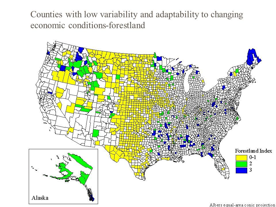 Counties with low variability and adaptability to changing economic conditions-cattle