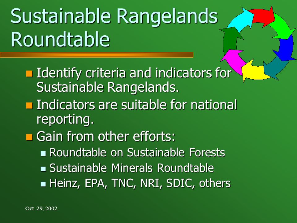 Oct. 29, 2002 Sustainable Rangelands Roundtable Identify criteria and indicators for Sustainable Rangelands. Identify criteria and indicators for Sust