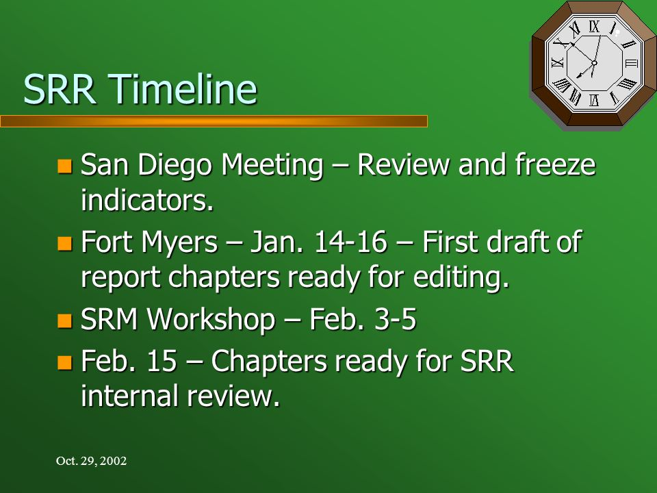 Oct. 29, 2002 SRR Timeline San Diego Meeting – Review and freeze indicators.