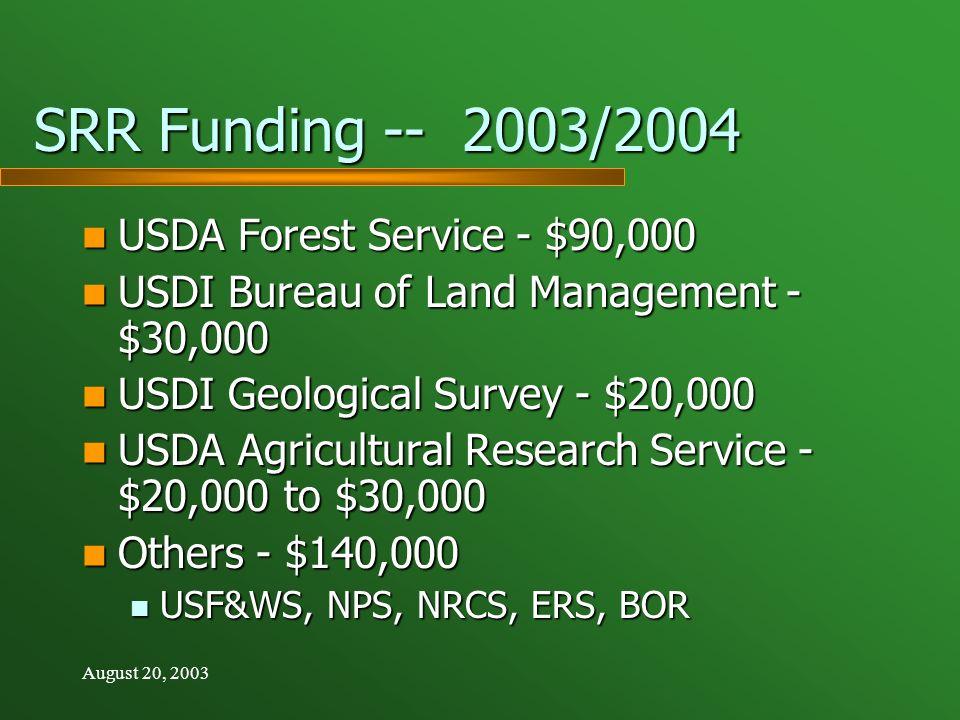 August 20, 2003 SRR Funding -- 2003/2004 USDA Forest Service - $90,000 USDA Forest Service - $90,000 USDI Bureau of Land Management - $30,000 USDI Bureau of Land Management - $30,000 USDI Geological Survey - $20,000 USDI Geological Survey - $20,000 USDA Agricultural Research Service - $20,000 to $30,000 USDA Agricultural Research Service - $20,000 to $30,000 Others - $140,000 Others - $140,000 USF&WS, NPS, NRCS, ERS, BOR USF&WS, NPS, NRCS, ERS, BOR