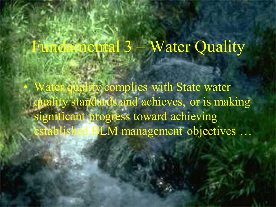 Fundamental 3 – Water Quality Water quality complies with State water quality standards and achieves, or is making significant progress toward achieving established BLM management objectives …