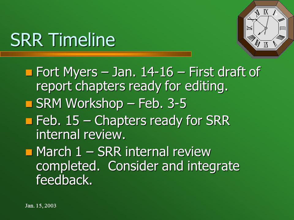 Jan. 15, 2003 SRR Timeline Fort Myers – Jan.