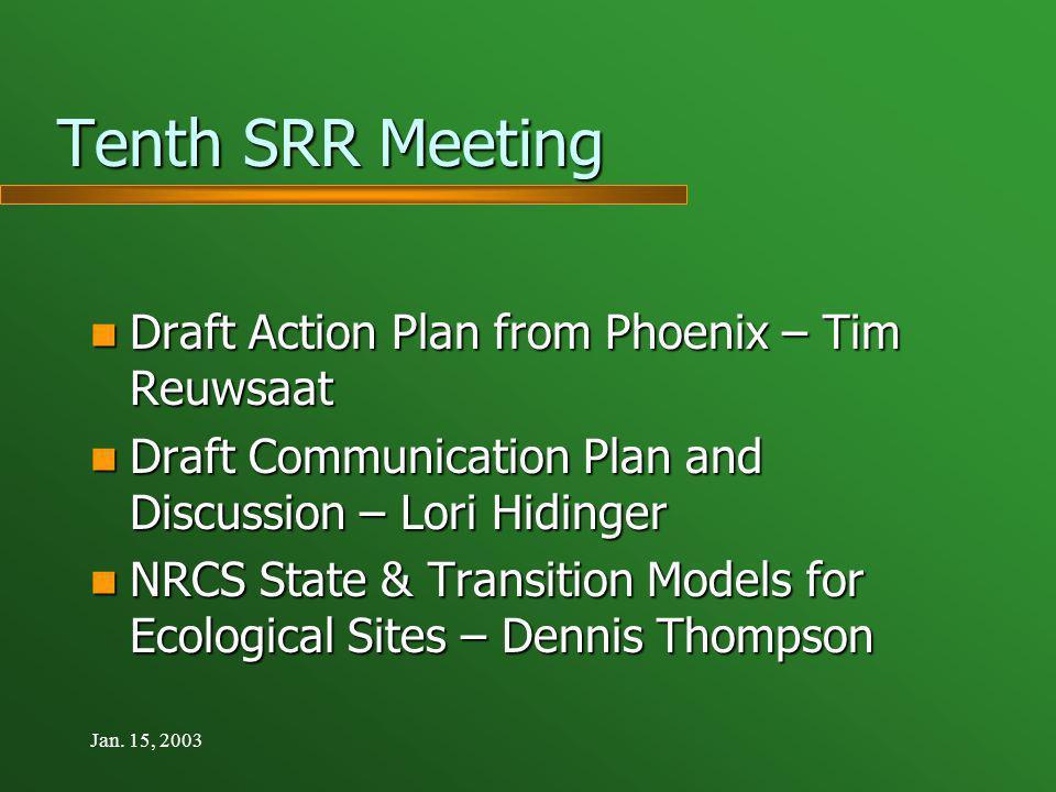 Jan. 15, 2003 Tenth SRR Meeting Tenth SRR Meeting Draft Action Plan from Phoenix – Tim Reuwsaat Draft Action Plan from Phoenix – Tim Reuwsaat Draft Co