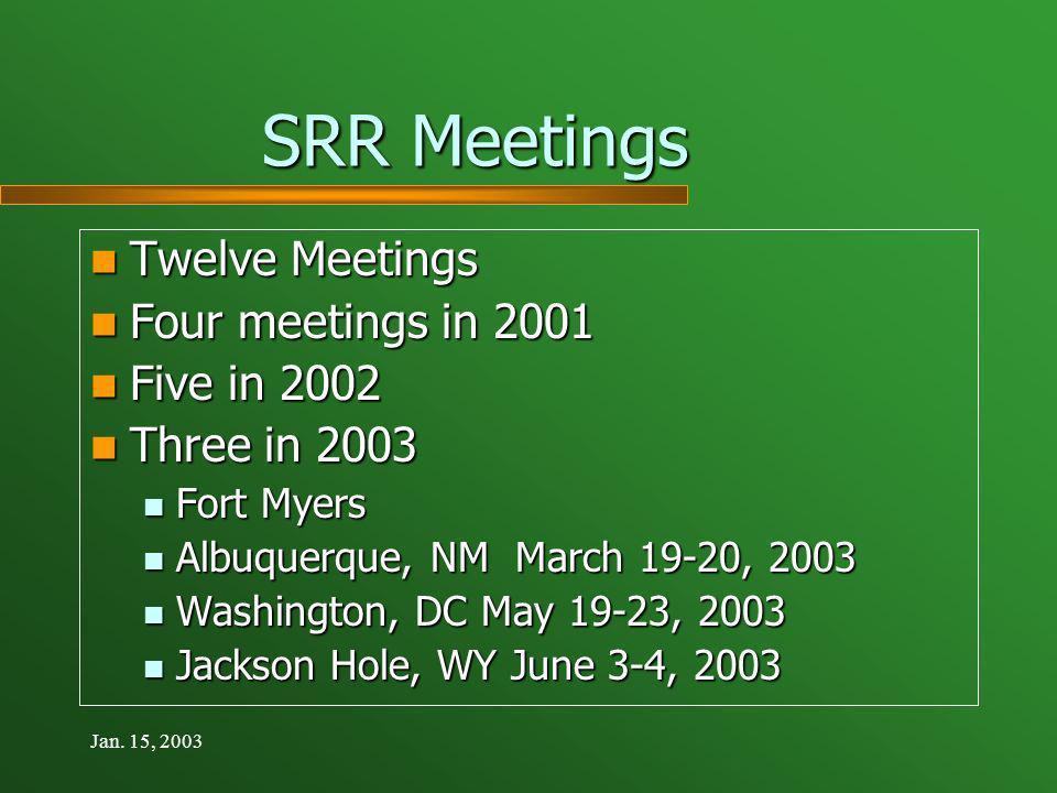 Jan. 15, 2003 SRR Meetings Twelve Meetings Twelve Meetings Four meetings in 2001 Four meetings in 2001 Five in 2002 Five in 2002 Three in 2003 Three i