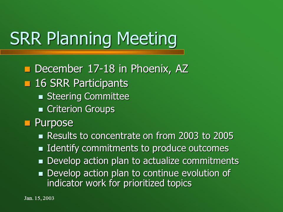 Jan. 15, 2003 SRR Planning Meeting December 17-18 in Phoenix, AZ December 17-18 in Phoenix, AZ 16 SRR Participants 16 SRR Participants Steering Commit