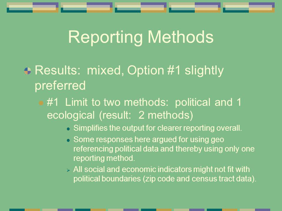Reporting Methods Results: mixed, Option #1 slightly preferred #1 Limit to two methods: political and 1 ecological (result: 2 methods) Simplifies the
