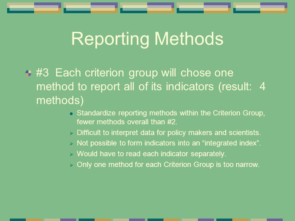 Reporting Methods #3 Each criterion group will chose one method to report all of its indicators (result: 4 methods) Standardize reporting methods with
