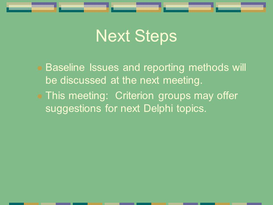 Next Steps Baseline Issues and reporting methods will be discussed at the next meeting. This meeting: Criterion groups may offer suggestions for next