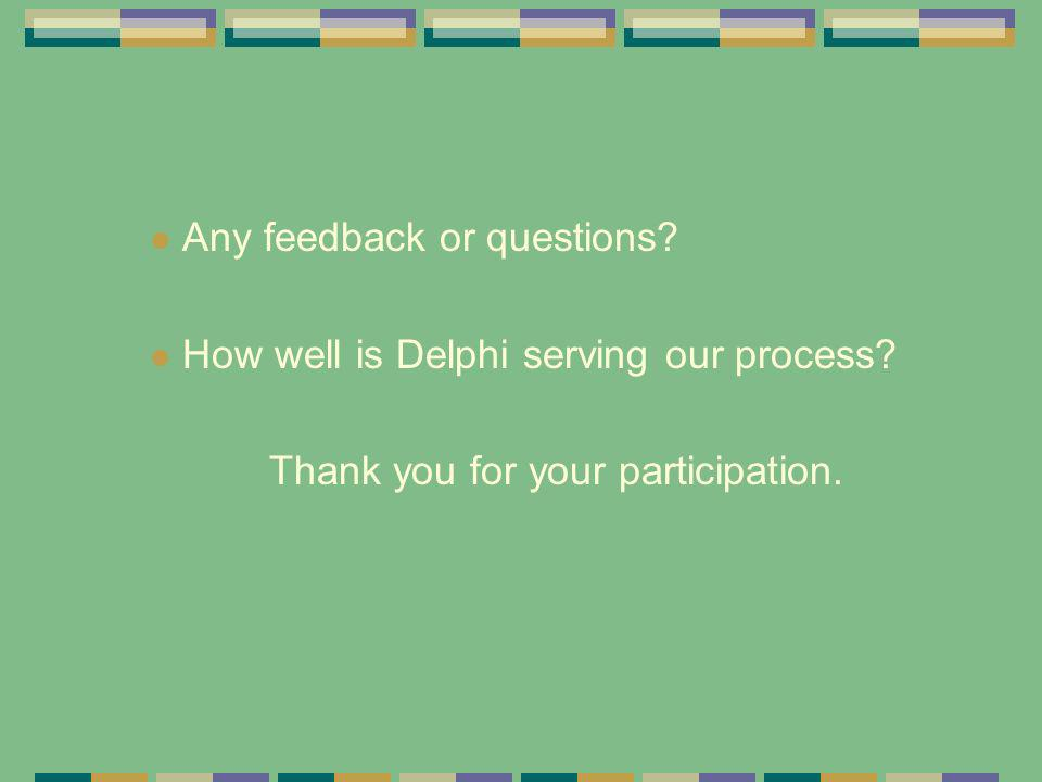 Any feedback or questions? How well is Delphi serving our process? Thank you for your participation.