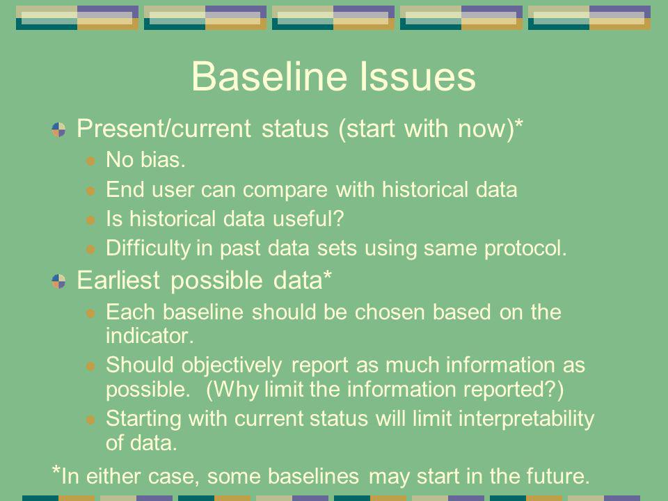 Baseline Issues Present/current status (start with now)* No bias. End user can compare with historical data Is historical data useful? Difficulty in p
