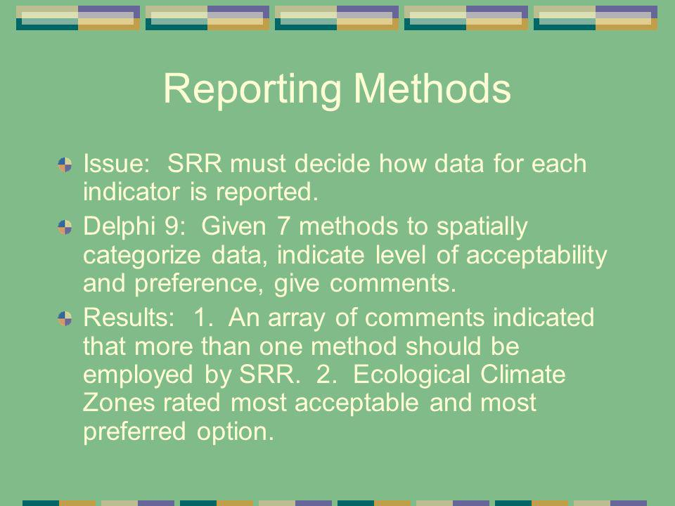 Reporting Methods Issue: SRR must decide how data for each indicator is reported. Delphi 9: Given 7 methods to spatially categorize data, indicate lev