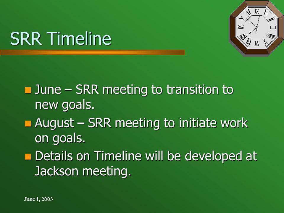 June 4, 2003 SRR Timeline June – SRR meeting to transition to new goals.