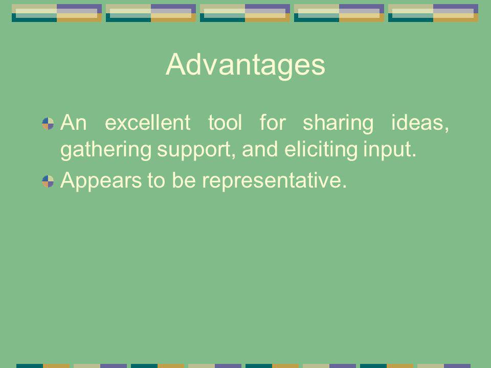 Advantages An excellent tool for sharing ideas, gathering support, and eliciting input. Appears to be representative.