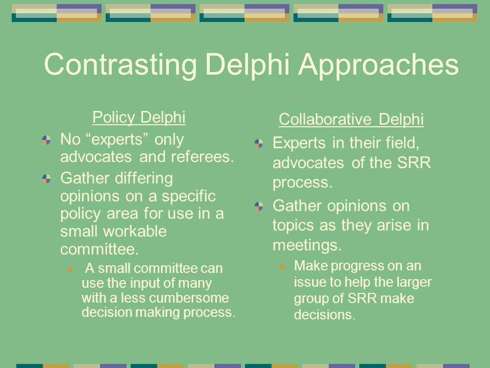 Contrasting Delphi Approaches Policy Delphi No experts only advocates and referees.
