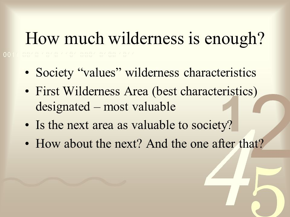 How much wilderness is enough.
