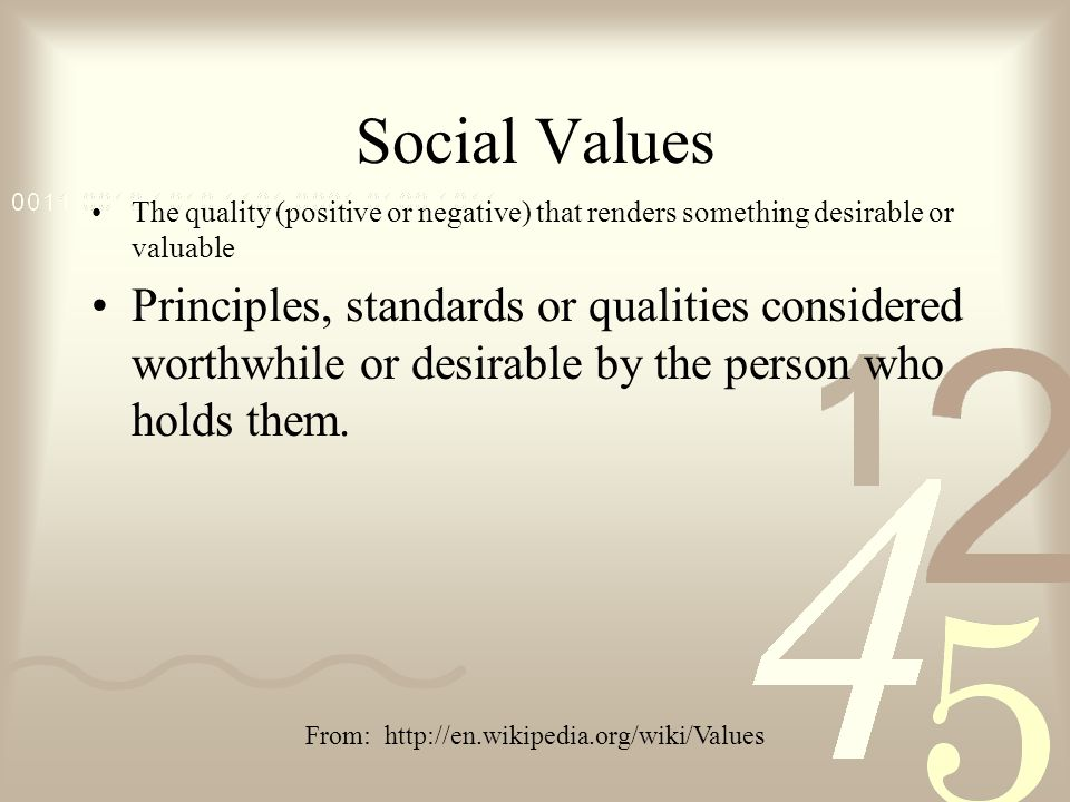 Values and SRR Back to the beginning.