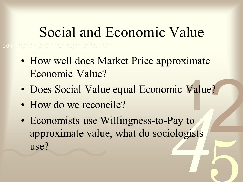 Different Values Market and Nonmarket Use and Nonuse Option, Bequest, Existence Economic and Social –Is economic value a subset of social value?