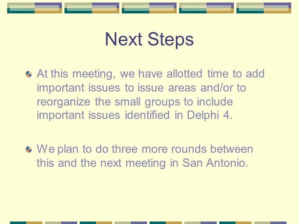 Next Steps At this meeting, we have allotted time to add important issues to issue areas and/or to reorganize the small groups to include important is