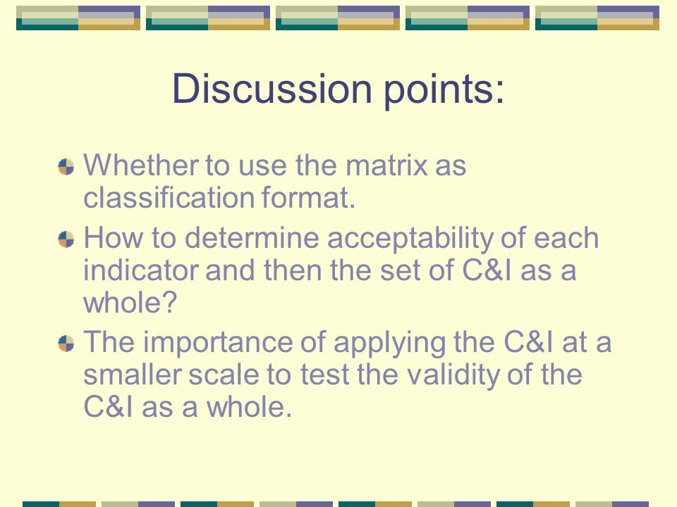 Discussion points: Whether to use the matrix as classification format. How to determine acceptability of each indicator and then the set of C&I as a w