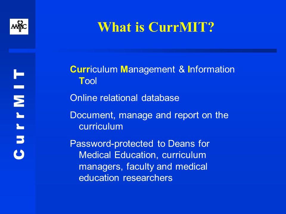 C u r r M I T Curr_AACOM Listserve Workshops Future developments: –AOA self-study templates.