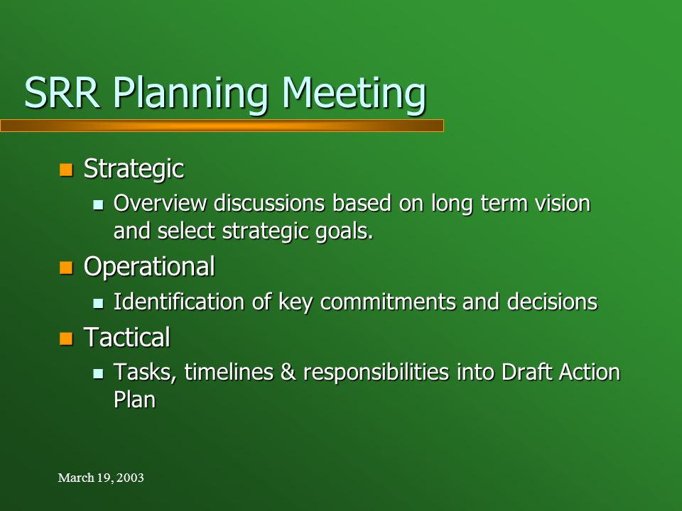 March 19, 2003 SRR Planning Meeting Strategic Strategic Overview discussions based on long term vision and select strategic goals.