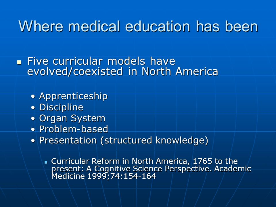 Where medical education has been Five curricular models have evolved/coexisted in North America Five curricular models have evolved/coexisted in North America ApprenticeshipApprenticeship DisciplineDiscipline Organ SystemOrgan System Problem-basedProblem-based Presentation (structured knowledge)Presentation (structured knowledge) Curricular Reform in North America, 1765 to the present: A Cognitive Science Perspective.
