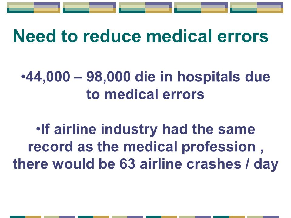 Need to reduce medical errors 44,000 – 98,000 die in hospitals due to medical errors If airline industry had the same record as the medical profession, there would be 63 airline crashes / day