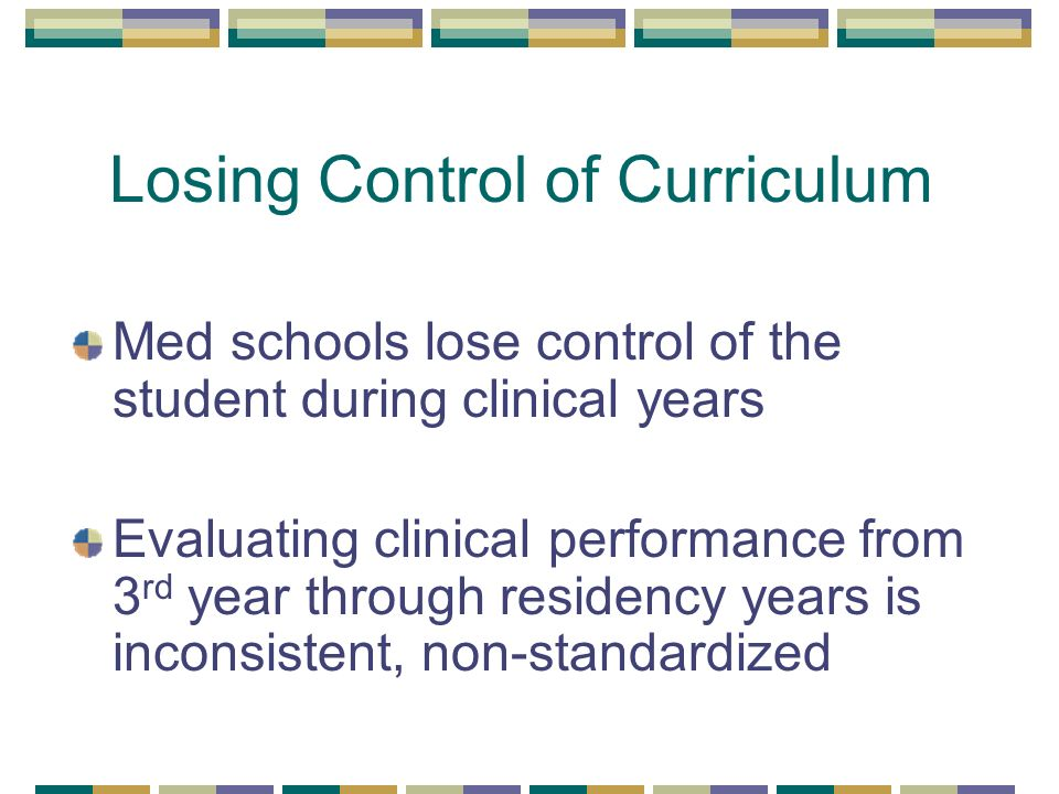 Losing Control of Curriculum Med schools lose control of the student during clinical years Evaluating clinical performance from 3 rd year through residency years is inconsistent, non-standardized