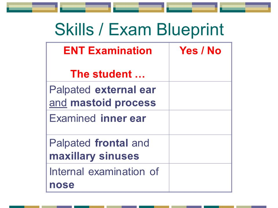 Skills / Exam Blueprint ENT Examination The student … Yes / No Palpated external ear and mastoid process Examined inner ear Palpated frontal and maxillary sinuses Internal examination of nose
