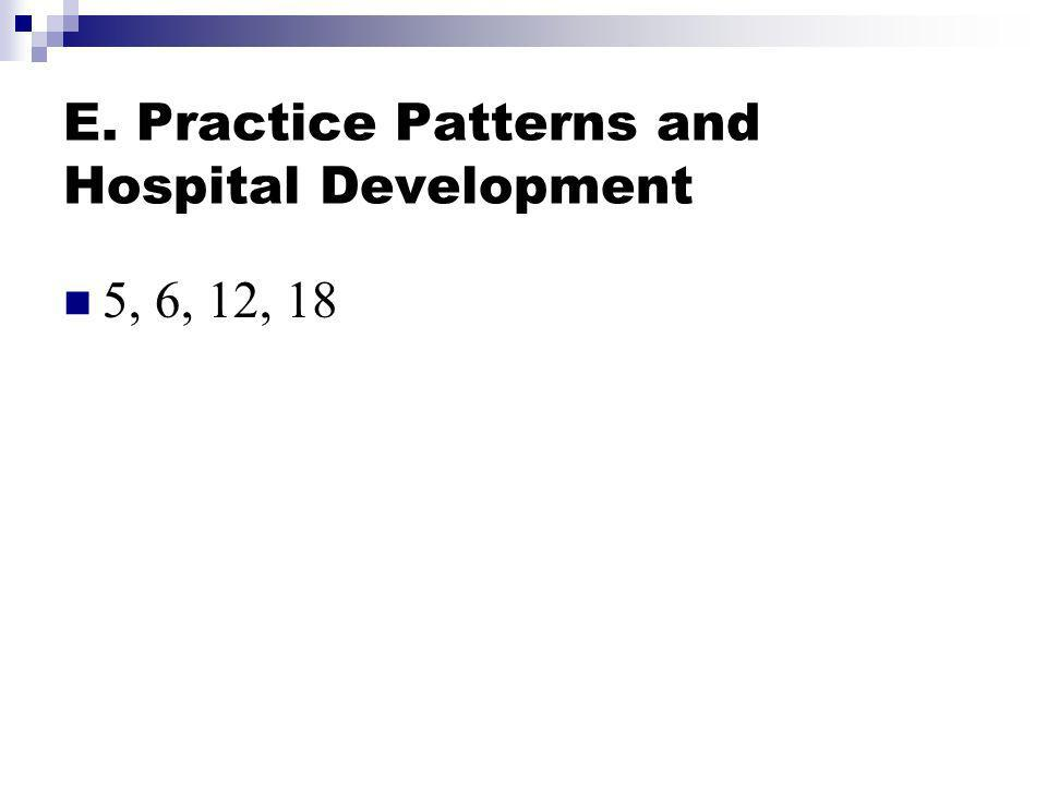 E. Practice Patterns and Hospital Development 5, 6, 12, 18