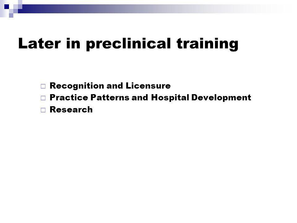 Later in preclinical training Recognition and Licensure Practice Patterns and Hospital Development Research
