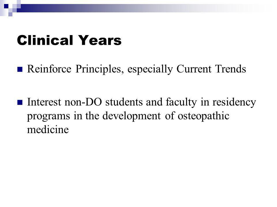 Clinical Years Reinforce Principles, especially Current Trends Interest non-DO students and faculty in residency programs in the development of osteopathic medicine