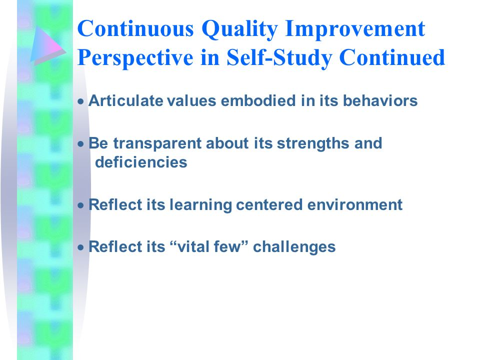 Continuous Quality Improvement Perspective in Self-Study Continued Articulate values embodied in its behaviors Be transparent about its strengths and deficiencies Reflect its learning centered environment Reflect its vital few challenges