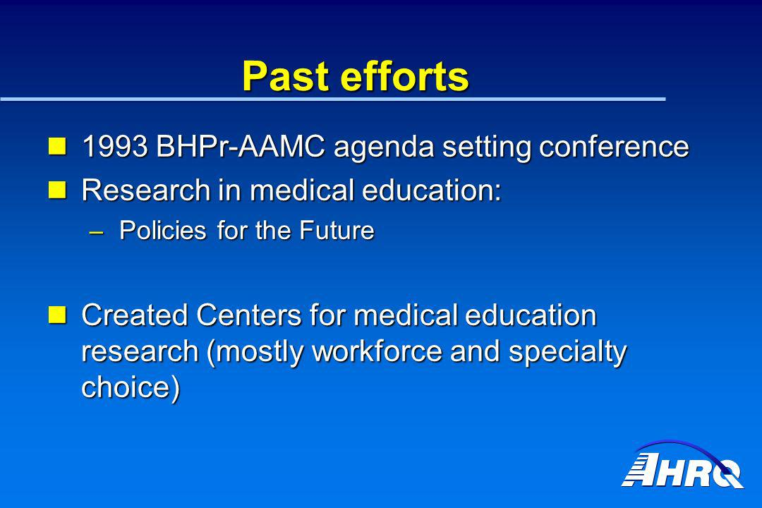 Past efforts 1993 BHPr-AAMC agenda setting conference 1993 BHPr-AAMC agenda setting conference Research in medical education: Research in medical educ