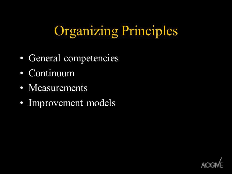 Organizing Principles General competencies Continuum Measurements Improvement models