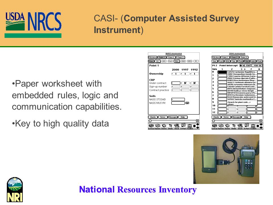 National Resources Inventory Paper worksheet with embedded rules, logic and communication capabilities.