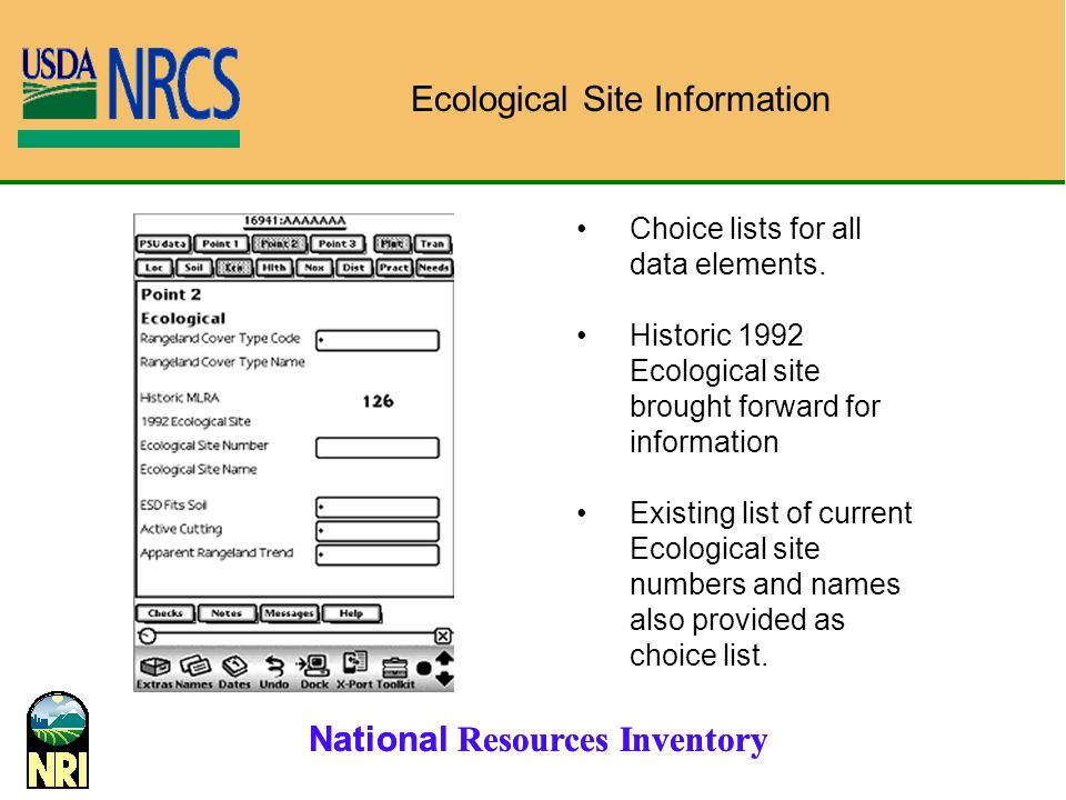 National Resources Inventory Choice lists for all data elements.