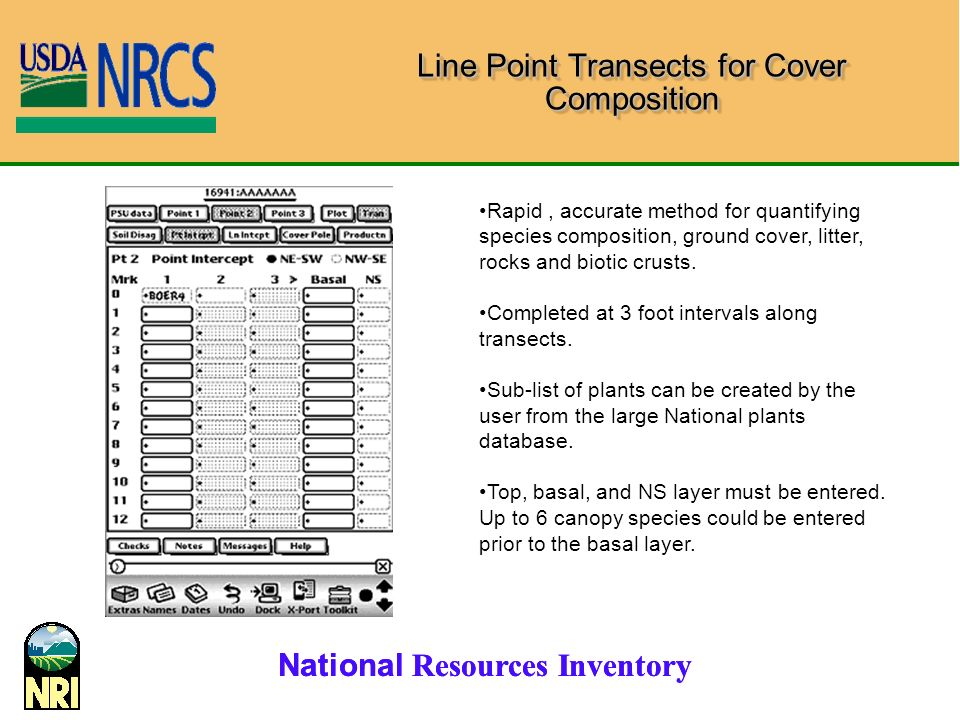 National Resources Inventory Line Point Transects for Cover Composition Rapid, accurate method for quantifying species composition, ground cover, litter, rocks and biotic crusts.