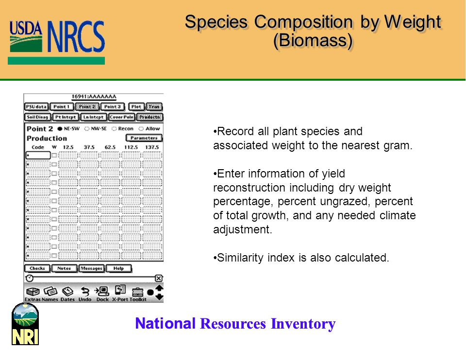 National Resources Inventory Species Composition by Weight (Biomass) Record all plant species and associated weight to the nearest gram.