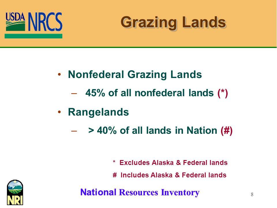 8 Grazing Lands Nonfederal Grazing Lands – 45% of all nonfederal lands (*) Rangelands – > 40% of all lands in Nation (#) * Excludes Alaska & Federal lands # Includes Alaska & Federal lands