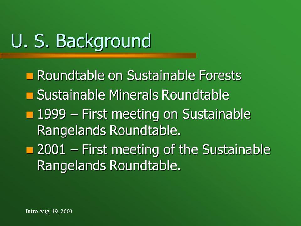 Intro Aug. 19, 2003 U. S. Background Roundtable on Sustainable Forests Roundtable on Sustainable Forests Sustainable Minerals Roundtable Sustainable M