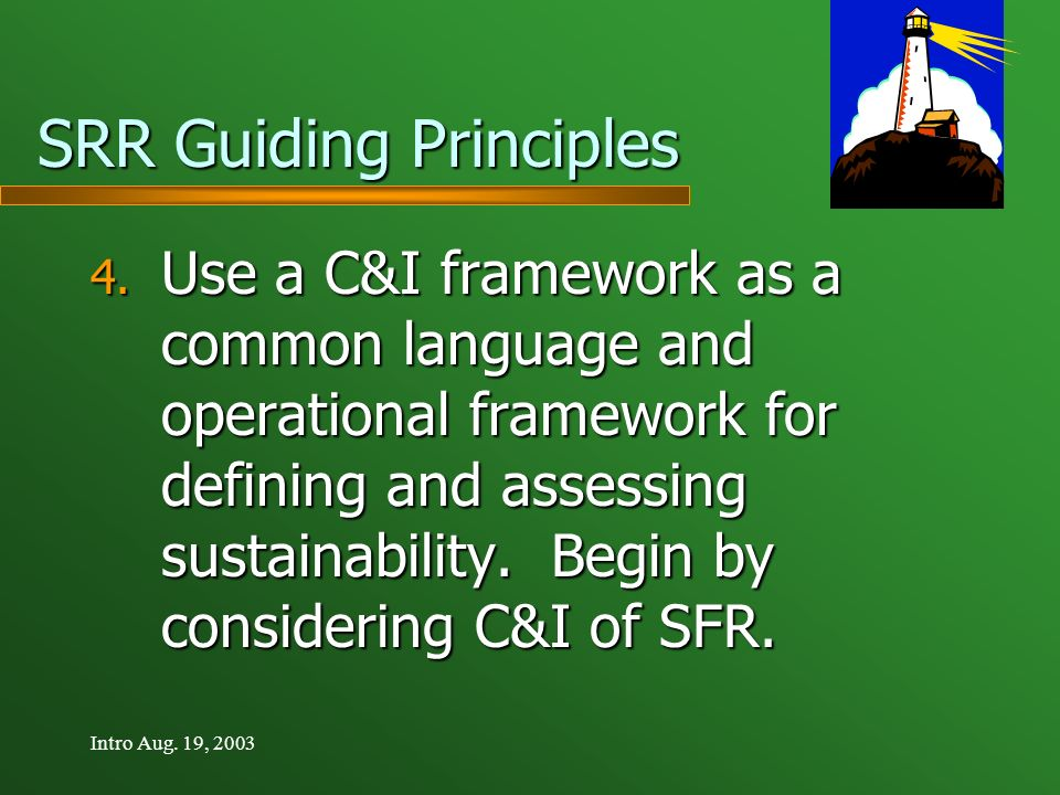 Intro Aug.19, 2003 SRR Guiding Principles 4.