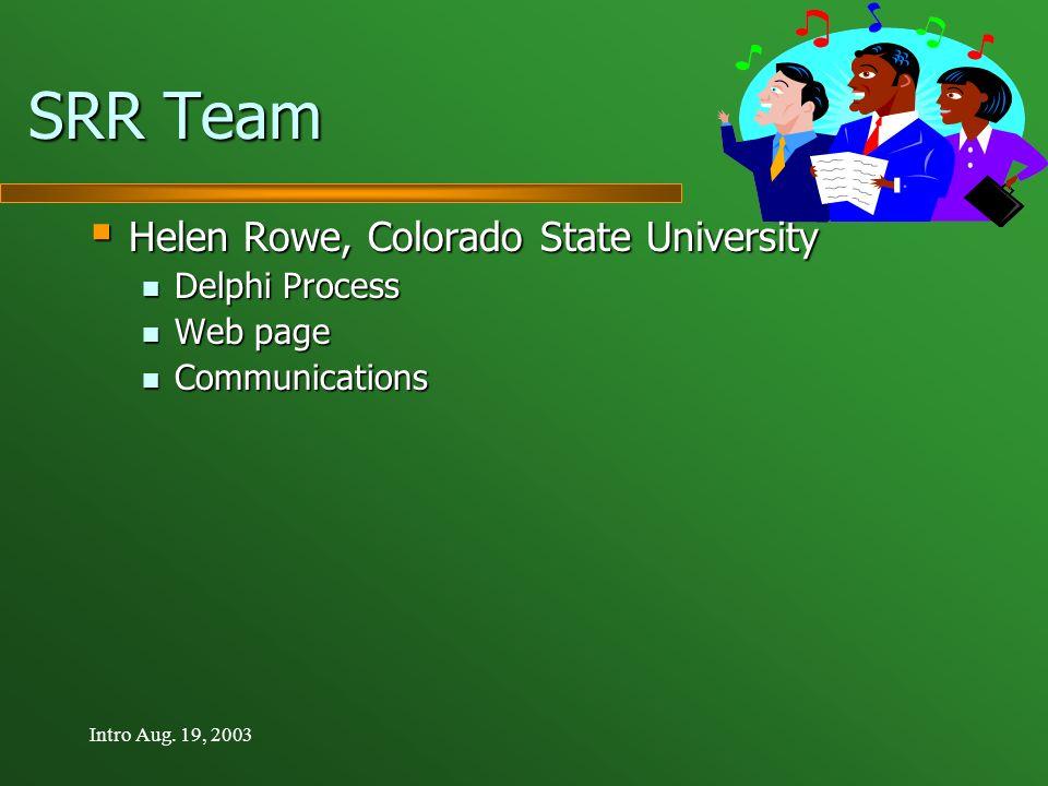 Intro Aug. 19, 2003 SRR Team Helen Rowe, Colorado State University Helen Rowe, Colorado State University Delphi Process Delphi Process Web page Web pa